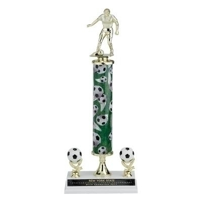 15; 16; 17 Inch Sport Column Trophy With Two Trims - Tr709601a - Traditional Sports Trophies Action Interchangeable TR709601A