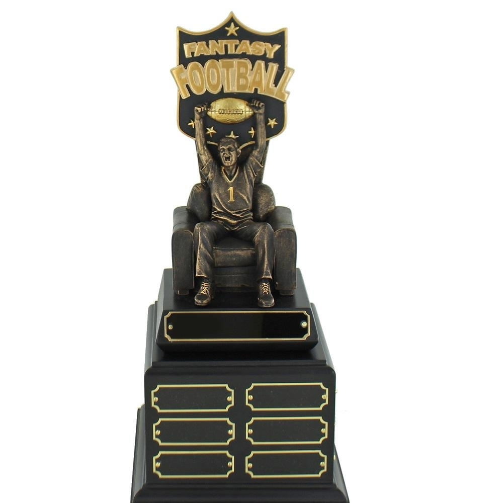15 Inch Fantasy Football Gold & Bronze Finished Man On Arm Chair Perpetual Trophy - Tr7484 - Brooches And Lapel Sports Awards TR7484