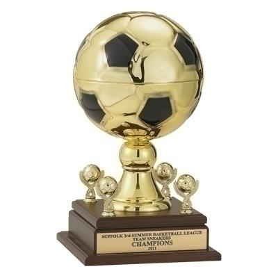 16 Inch Gold Metal Soccer Trophy With 9 Diameter Ball And Trims - Tr7183g - Awards Cups Balls TR7183G