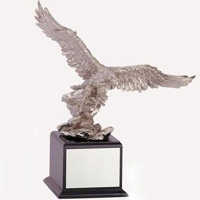 18-1/2 Inch Eagle Trophy; Silver Electroplated - Tr5387 - Resin Trophies; Painted And TR5387