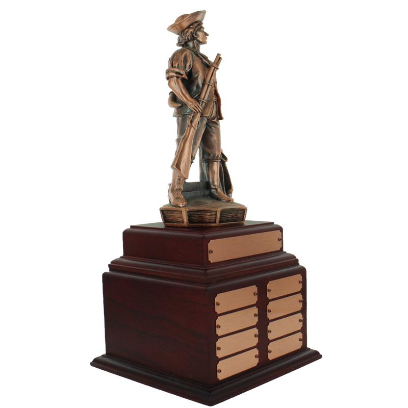 18-3/4 Inch Minuteman Bronze Perpetual Trophy Rosewood Base With 8 Name Plates - Tr7471 - Awards Traditional Wood Turning Trophies TR7471