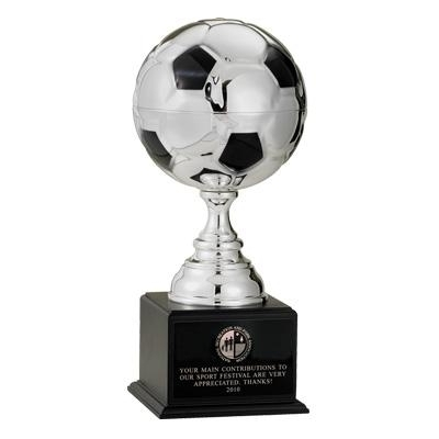 19-1/2 Inch Silver Soccer Ball Trophy With 9 Diameter - Tr7186s - Sports Awards Figures And Risers TR7186S