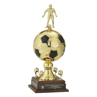 23 Inch Gold Metal Soccer Trophy With 9 Diameter Ball; Trims; And 7 Male Figure - Tr7185m - Sports Awards Figures Risers TR7185M