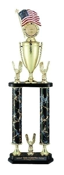 25; 26; 27 Inch Black And Gold Two Column Trophy; Takes Figure; Riser; Insert - Tr7321 - Academic Traditional Trophies TR7321