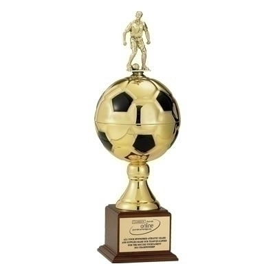 27 Inch Gold Soccer Ball Trophy With 9 Diameter Ball; Takes Figure - Tr7225g - Awards Cups And Balls TR7225G