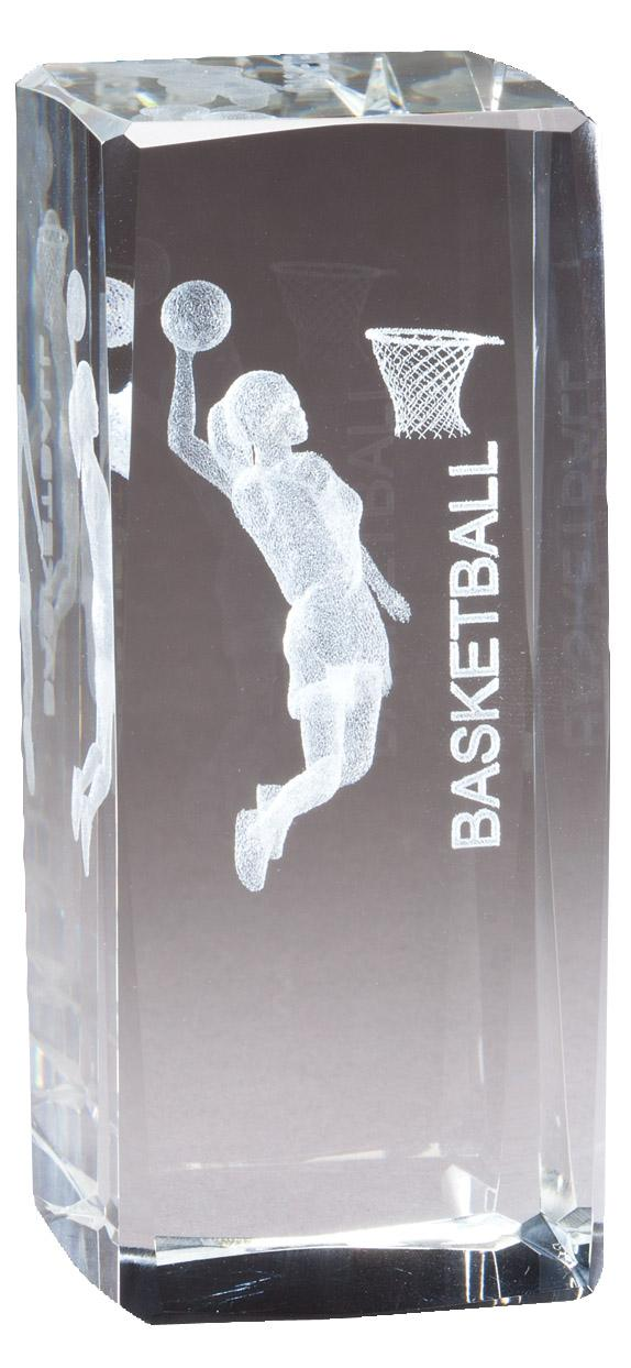 """4 1/2"""" X 2"""" Crystal Award Female Basketball Figure Laser Engraved Inside - Cr312 - Paperweights Optical Cut Trophies And CR312"""