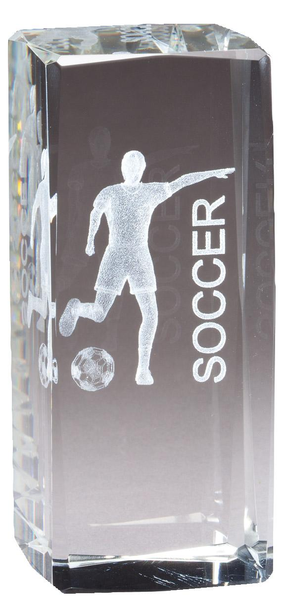 """4 1/2"""" X 2"""" Crystal Award Female Soccer Figure Laser Engraved Inside - Cr315 - Paperweights Optical Cut Trophies And CR315"""