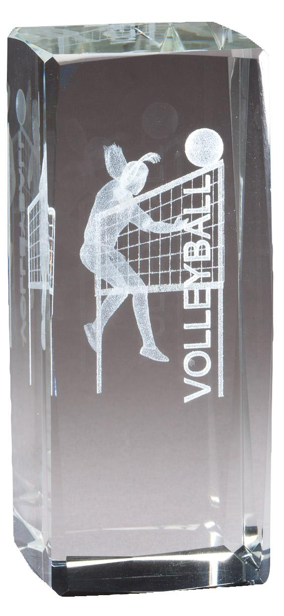 """4 1/2"""" X 2"""" Crystal Award Female Volleyball Figure Laser Engraved Inside - Cr319 - Paperweights Optical Cut Trophies And CR319"""