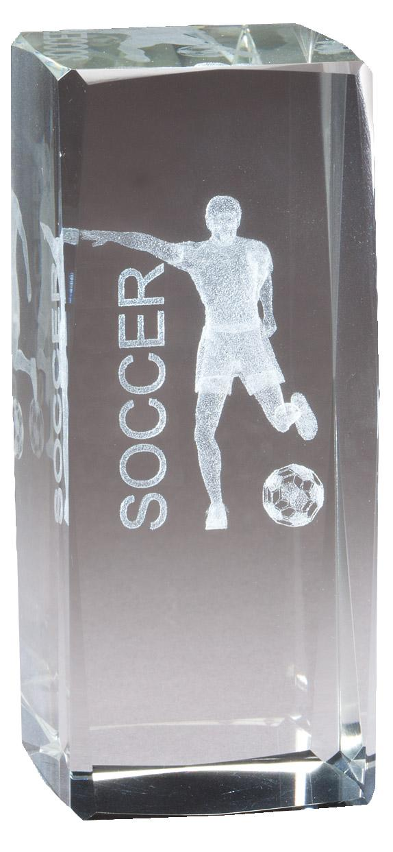 """4 1/2"""" X 2"""" Crystal Award Male Soccer Figure Laser Engraved Inside - Cr314 - Paperweights Optical Cut Trophies And CR314"""