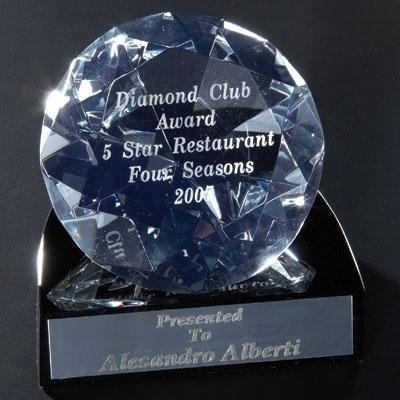 4-1/4 X 4 Inch Diamond Shaped Crystal With Black Base - Cr220 - Trophies And Awards Optical And Lead CR220