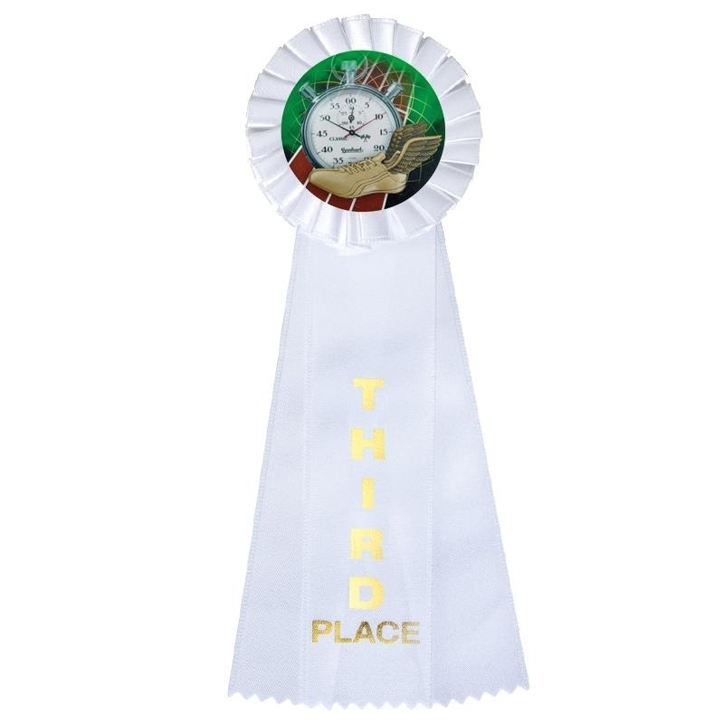 "Tennis Trophies & Awards Ribbons - Rt353 - 4"" X 11"" Rosette White 3rd Place 3 Streamer Ribbon RT353"