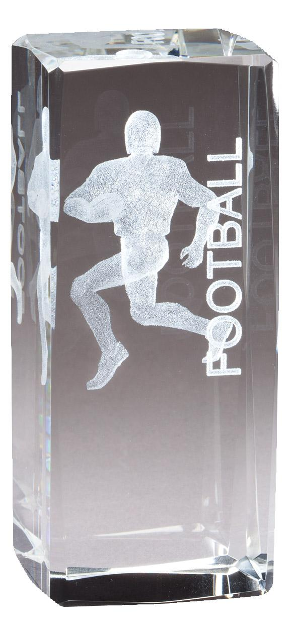 """4.5"""" X 2"""" Crystal Award Football Player Laser Engraved Inside - Cr321 - Paperweights Optical Cut Trophies And CR321"""