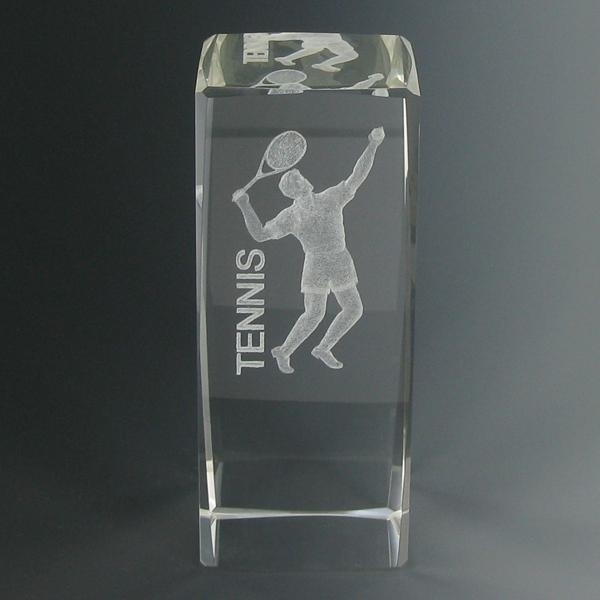 Tennis Trophies & Awards Trophies - Cr280 - 4-5/8 X 1-7/8 Optical Crystal Male Tennis Trophy CR280