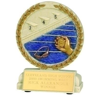 Tennis Trophies & Awards Trophies - Xz9922 - 5-1/2 X 4-1/2 Inch Swimming Stone Resin Trophy - No Plate XZ9922