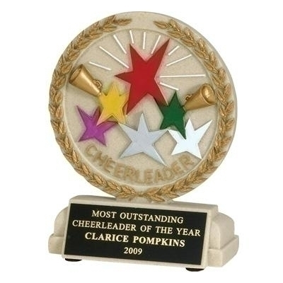 5-1/2 Inch Cheerleader Stone Resin Trophy - Tr9915bk - Awards Mascot Trophies TR9915BK