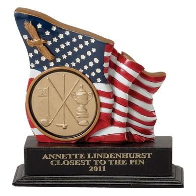 5-1/2 Inch Flag/eagle Trophy; Holds 2 Insert - Tr5643 - Academic Traditional Column Trophies TR5643