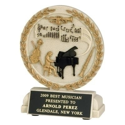 Tennis Trophies & Awards Trophies - Tr9914bk - 5-1/2 Inch Musician Cast Stone Trophy TR9914BK