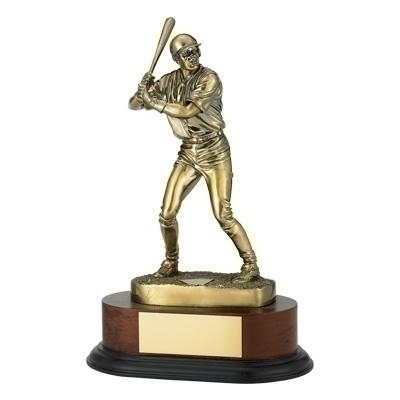 Baseball Trophy; 11-3/4 Inch; Electroplated In Antique Brass - Tr5648 - Tennis Trophies & Awards Trophies TR5648