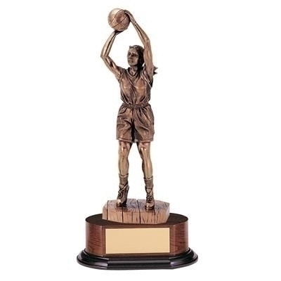 Basketball Female Trophy; 14 Inch; Electroplated - Tr5325 - Awards Large Resin Sport And Occupational Trophies TR5325