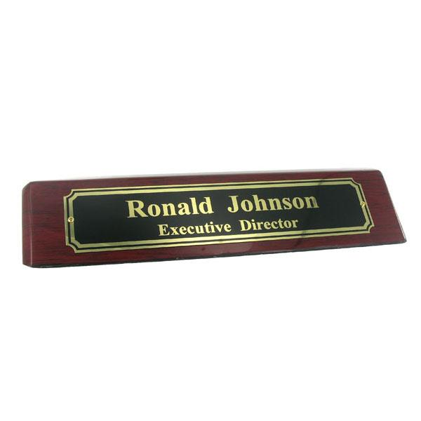Desk Block; Piano Finish Rosewood; Black Screened Nameplate - Gf5267bk - Organizers Personalized Blocks GF5267BK