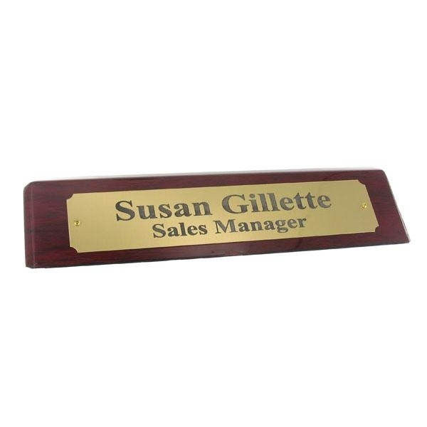 Desk Block; Piano Finish Rosewood; Satin Brass Nameplate - Gf5267 - Organizers Personalized Blocks GF5267