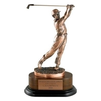 Golf Trophy; Male; 11-1/2 Inch; Electroplated In Antique Bronze - Tr5328 - Awards Large Resin Sport And Occupational Trophies TR5328