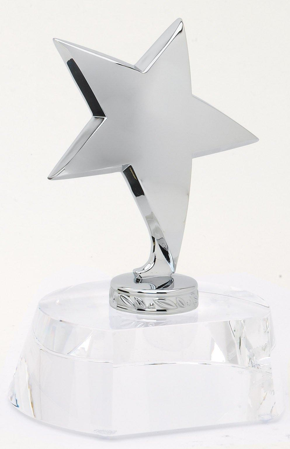 Optical Crystal Trophy With Polished Metal Silver Star. Gift Boxed Size 4 1/2 Inch X 5 3/4 Plate For Engraving - Cr327 - Paperweights Cut Trophies And CR327
