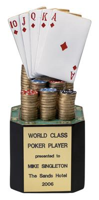 Poker Trophy; 8 Inch; Painted Resin - Tr5737 - Awards Large Electroplated Sport And Occupational Trophies TR5737
