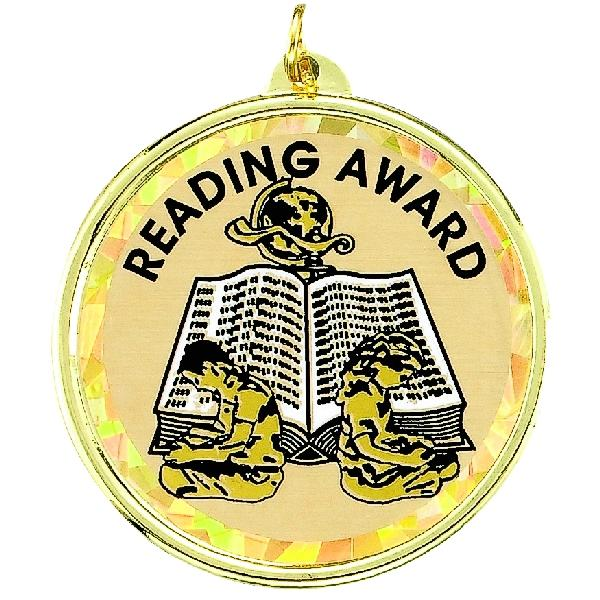 Reading Award Mylar Medal - Tm9901g - Trophies And Awards Tm-series; 2-1/4 Inch Mascot Medals TM9901G