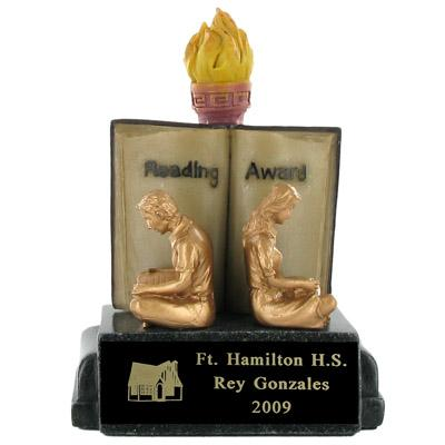 Reading Award Scholastic Trophy; 5-1/2 Inch - Ts1003bk - Tennis Trophies & Awards Trophies TS1003BK