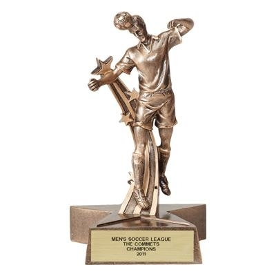 Soccer; Male; 7 Inch Figure Trophy - Tr6098gd - Sports Resin Trophies And Cast Stone Sport TR6098GD