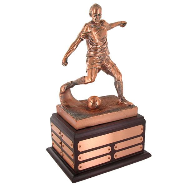 Soccer Perpetual Trophy; 13-1/2 Inch; Electroplated In Antique Bronze - Tr7336 - Trophies And Awards New Resin TR7336