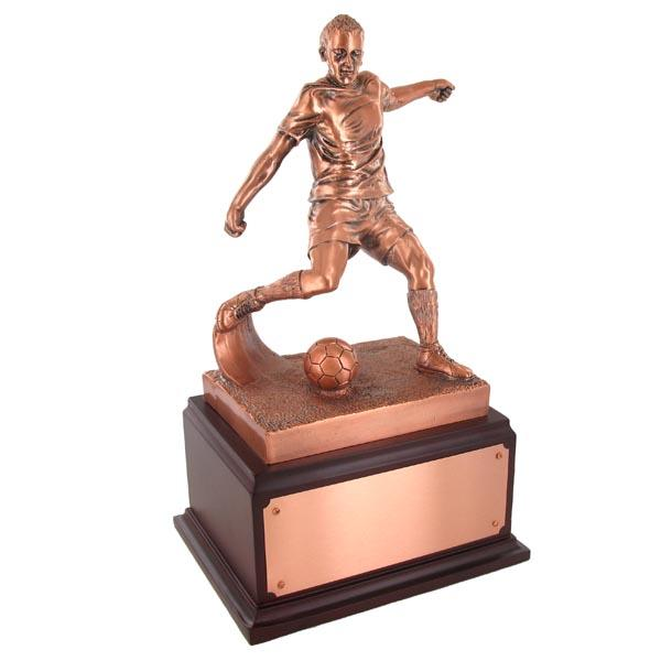 Soccer Trophy; 13-1/2 Inch; Electroplated In Antique Bronze - Tr7335 - Trophies And Awards New Resin TR7335
