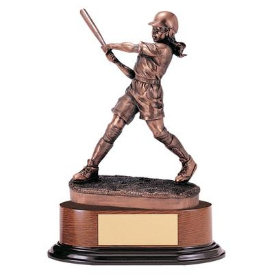 Softball; Female Trophy; 11 Inch; Electroplated - Tr5331 - Awards Large Resin Sport And Occupational Trophies TR5331