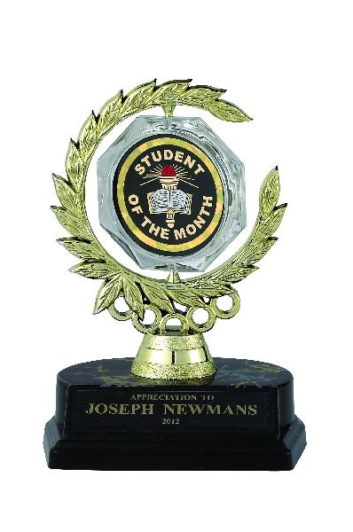 Spinner Wreath Trophy; 6 Inch; Black Base; 2 Inch Insert - Tr7273 - New Academic Awards And Trophies TR7273