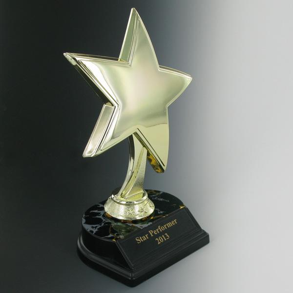 Star Trophy; 8 Inch Height; Black And Gold Base; Black Plate - Tr7338bk - Tennis Trophies & Awards Trophies TR7338BK