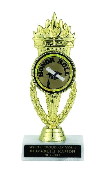 Torch Trophy; 7-1/4 Inch; White Marble Base; 2 Inch Insert - Tr7269 - Tennis Trophies & Awards Trophies TR7269