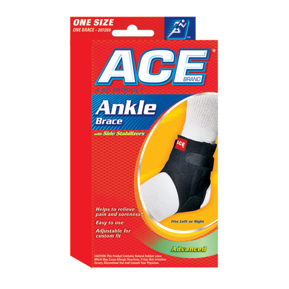 Ace Ankle Brace With Side Stabilizers One Size Fits Most - Fut255 - Health Care Body Part Knee And Leg Braces And Supports FUT255