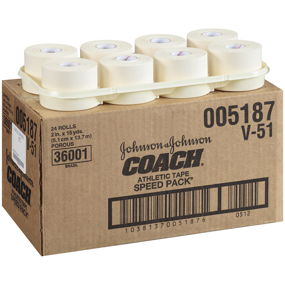 """Coach Athletic Tape 2"""" X 15yds 24/case - Jnj005187 - Health Care Sports Medicine Athletic Tape And Accessories JNJ005187"""