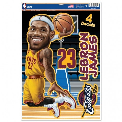 Basketball Nba Basketball Cleveland Cavaliers Decals - 3208518084 - Cleveland Cavaliers Lebron James Caricature Decal 11x17 Multi Use 3208518084