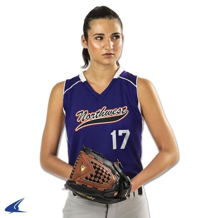 Racer Back Ladies Jersey - ; White - Youth L - Bs17yrywl - Clothing Uniforms Sports Uniforms Softball BS17YRYWL