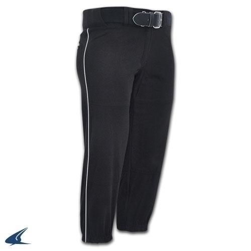 Women's Performance Pant With Piping - Grey; Black Pipe - Women's L - Bp71agbpl - Clothing Uniforms Sports Uniforms Softball BP71AGBPL