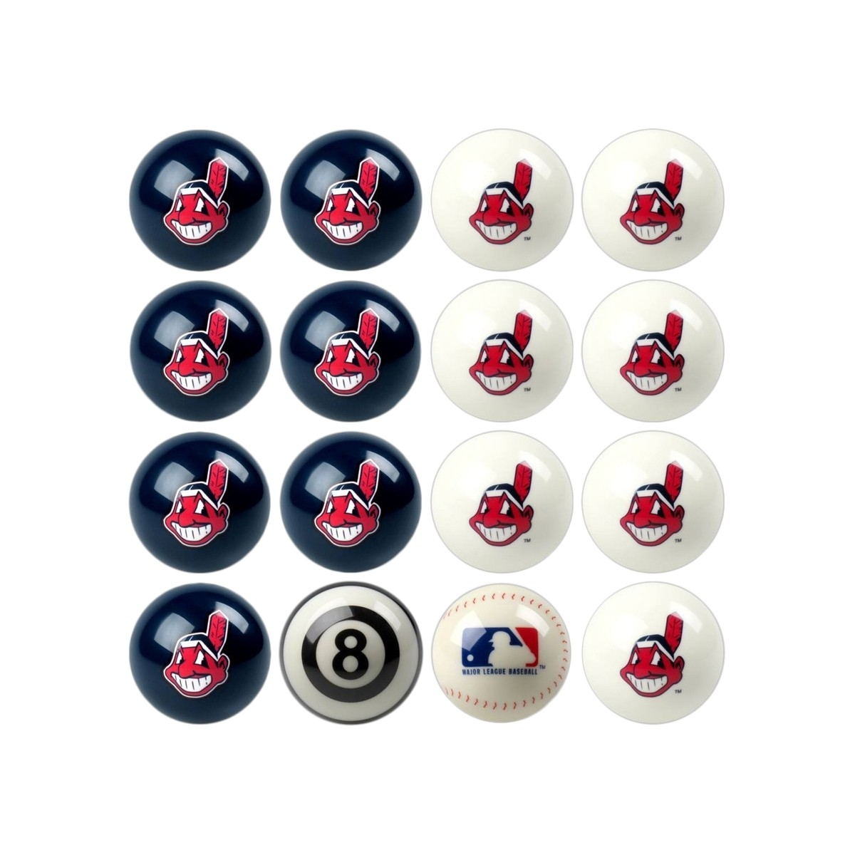 Cleveland Indians Home Vs. Away Billiard Ball Set - 50-2104 - Toys Tables And Chairs 50-2104