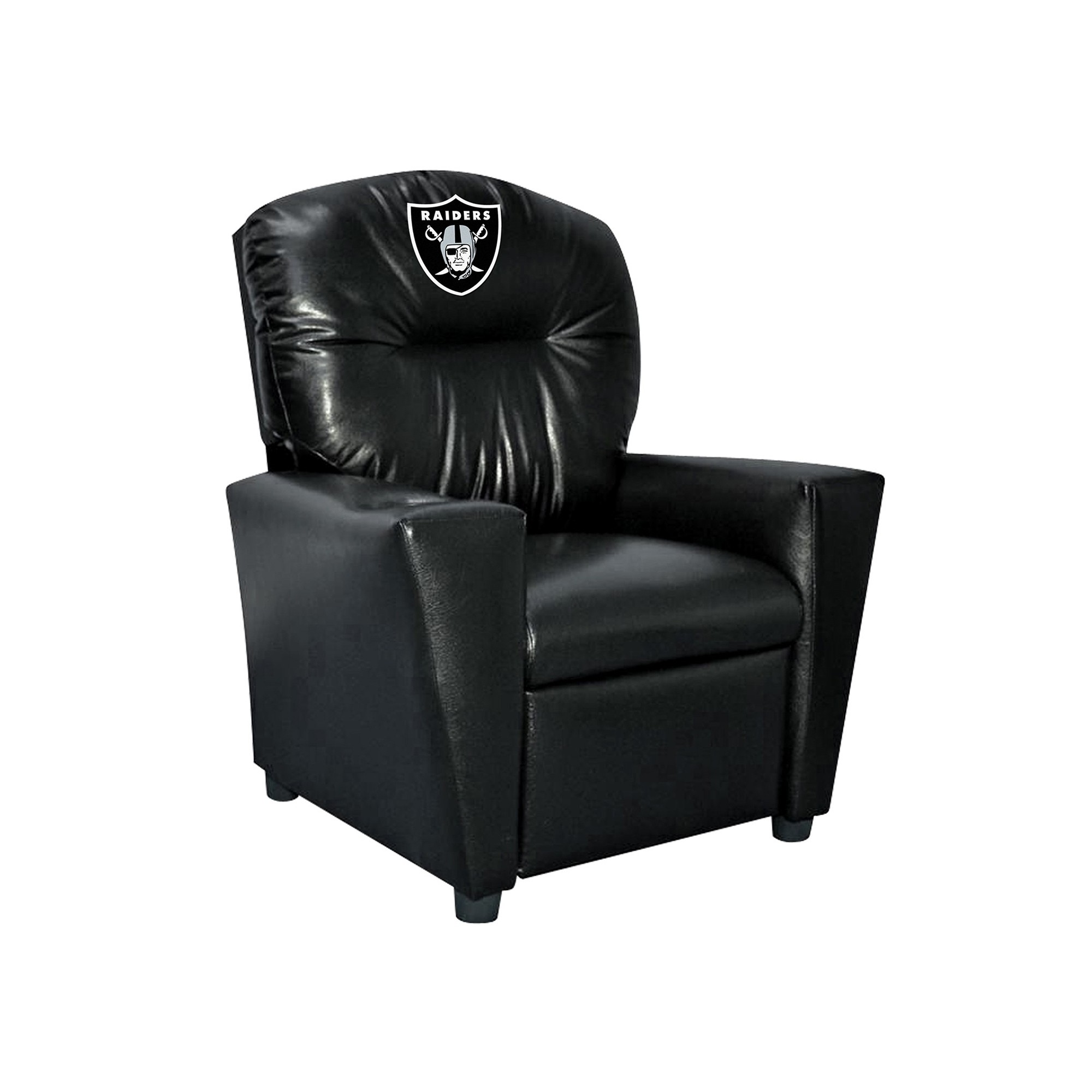 Oakland Raiders Kids Faux Leather Recliner - 107-1010 - Football Nfl Football Oakland Raiders Kids Dish Sets 107-1010