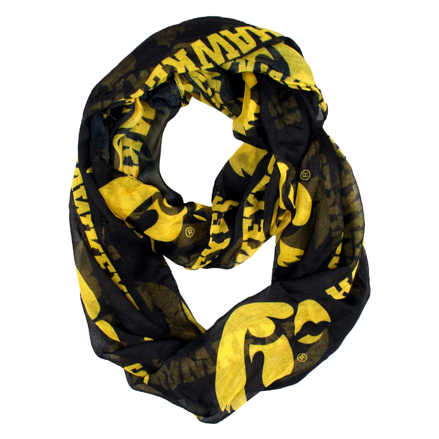 Ncaa College Iowa Iowa Hawkeyes Scarves - 100615-uiwa - Iowa; U Of Sheer Infinity Scarf 100615-UIWA