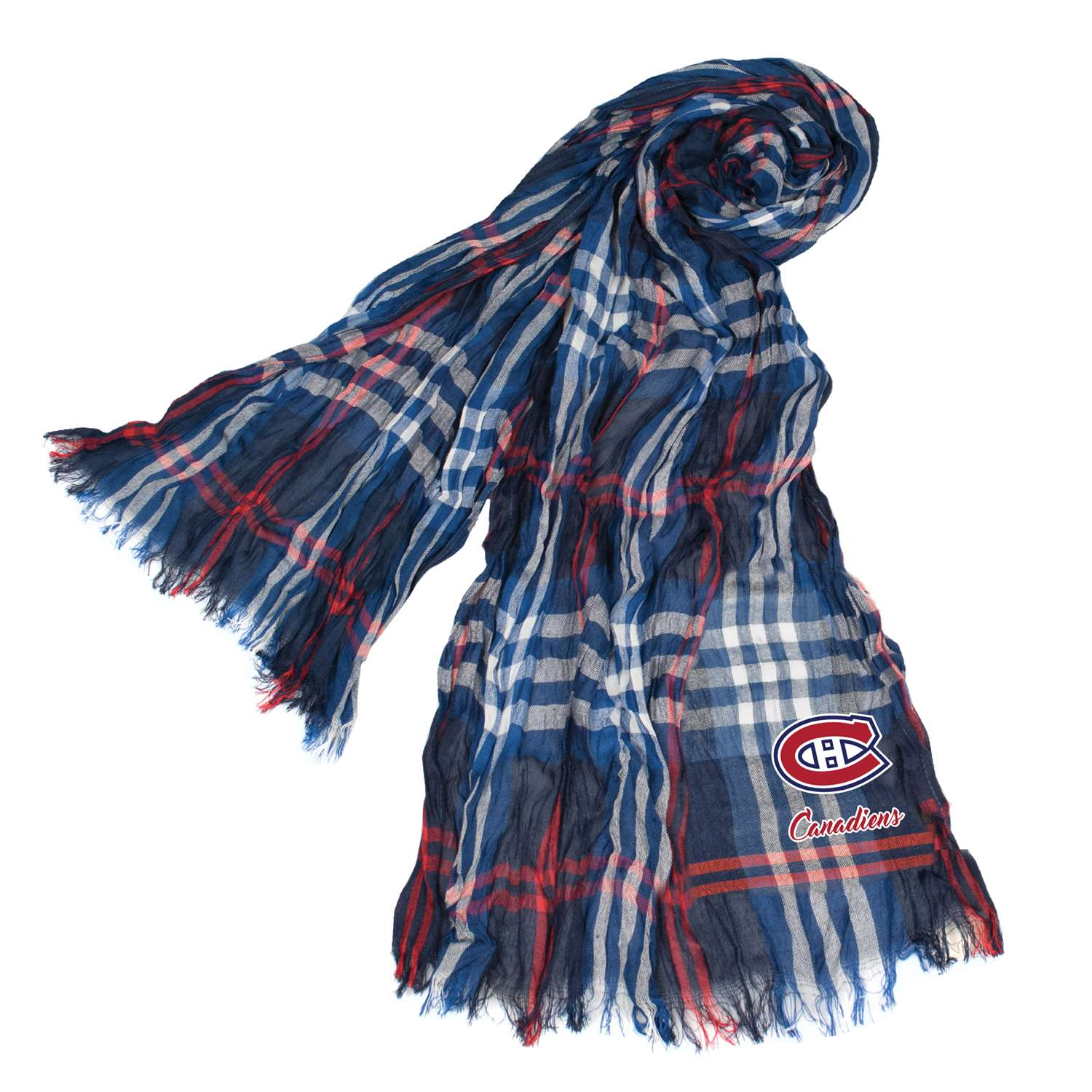 Nhl Hockey Montreal Canadiens Scarves - 500658-cand-nvred - Montreal Canadiens Crinkle Scarf Plaid 500658-CAND-NVRED