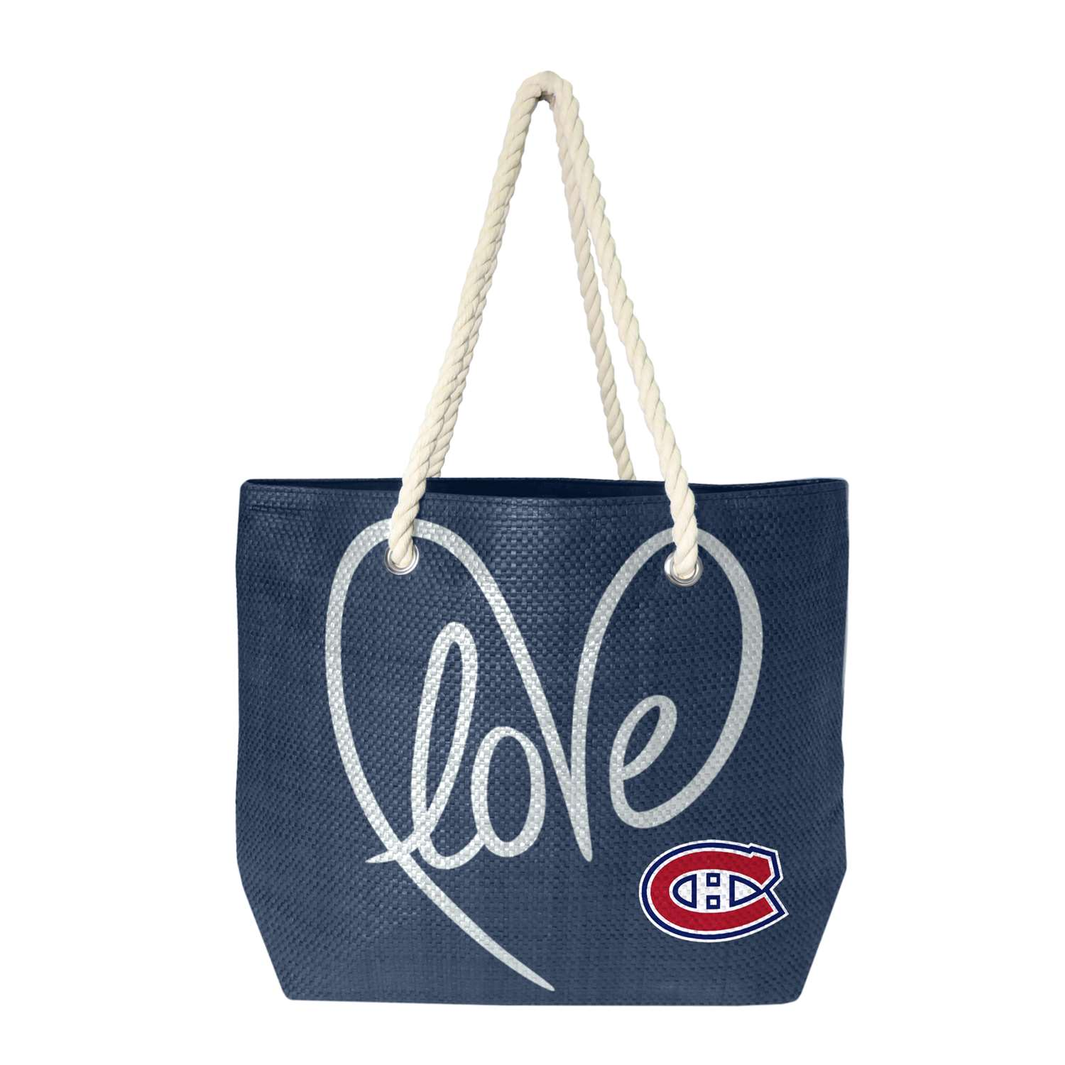 Nhl Hockey Montreal Canadiens Purses Wristlets Totes - 500651-cand-navy-slvr - Montreal Canadiens Rope Tote 500651-CAND-NAVY-SLVR
