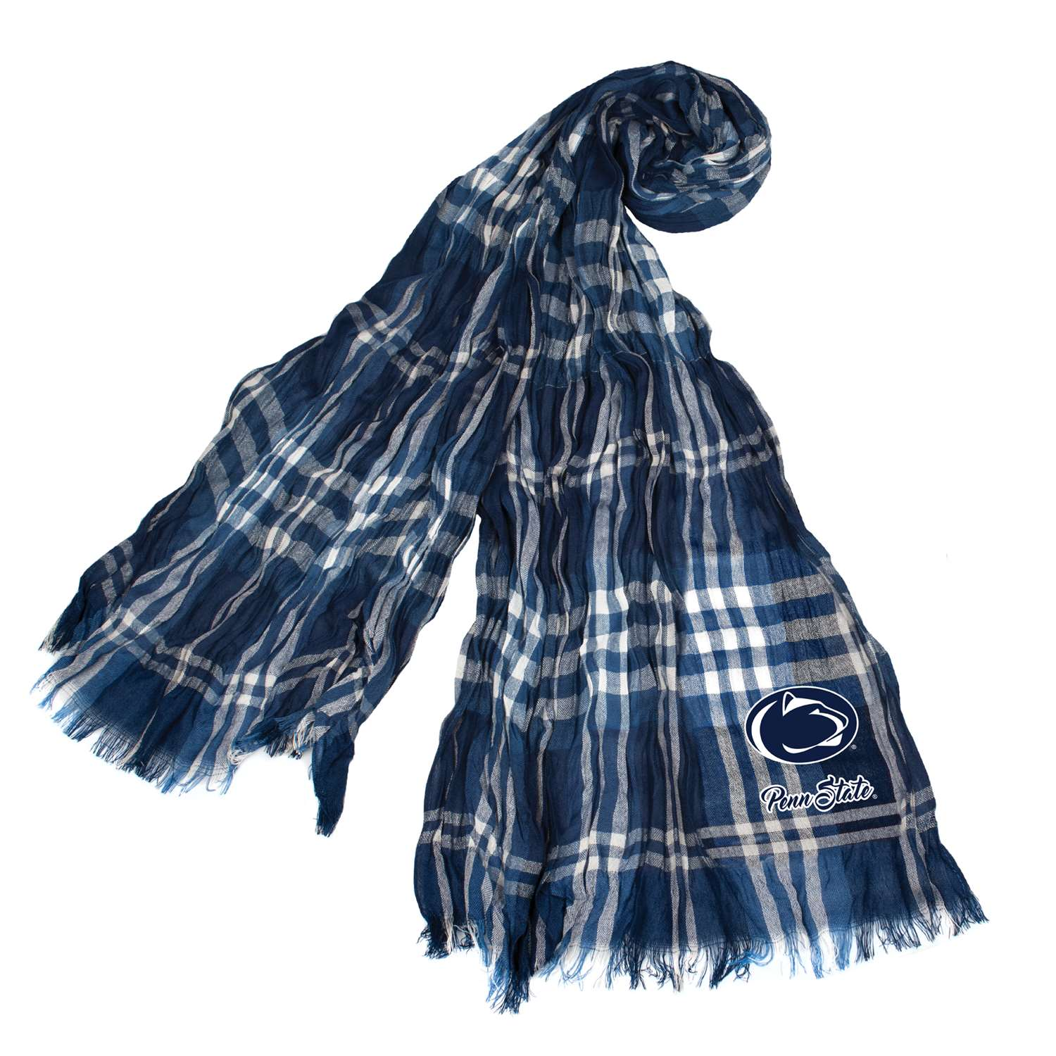Pennsylvania State University Crinkle Scarf Plaid - 100658-psu-nvgry - Ncaa College California University Of Pennsylvania Cup Vulcans Scarves 100658-PSU-NVGRY