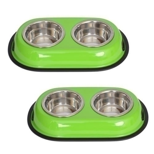 2 Pack Color Splash Stainless Steel Double Diner-green - 51428 - Flying Disc Sports Double Disc Court 51428
