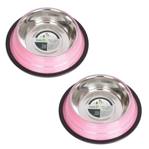 Physical Therapy Pet Care & Park Equipment - 51461 - 2 Pack Color Splash Stripe Non-skid Pet Bowls-pink 51461
